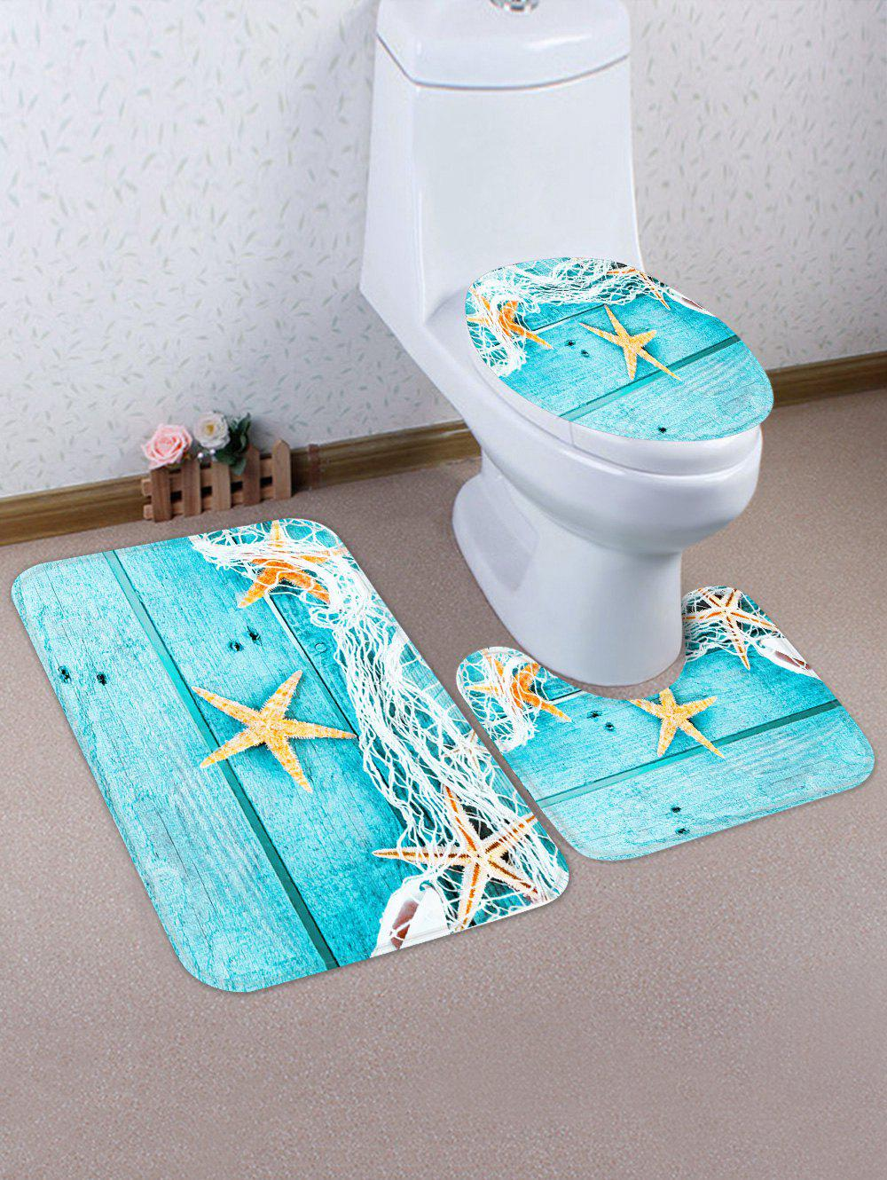 Starfish Wooden Printed 3 Pcs Bathroom Toilet Mat - BLUE ZIRCON