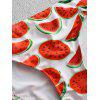 Watermelon Print Low Cut Bikini Set - RED L