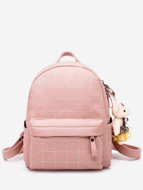 College Style Bear Doll Pendant PU Backpack - PINK