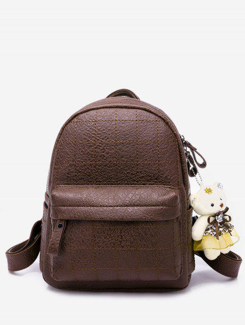 College Style Bear Doll Pendant PU Backpack - BROWN