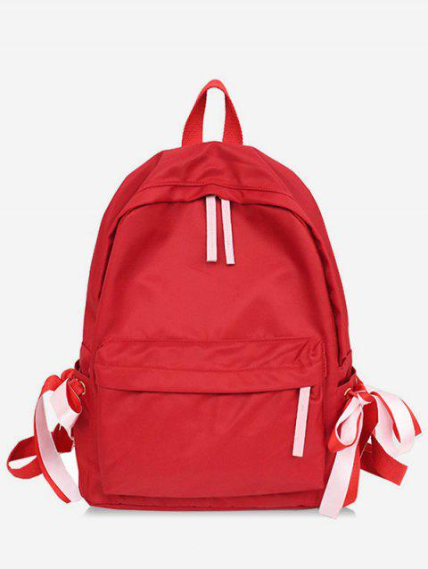 Contrast Ribbon Decor Detail Nylon Casual Backpack - RED