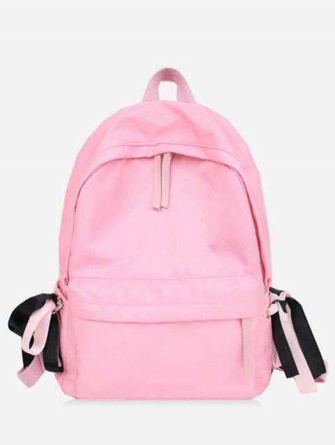 Contrast Ribbon Decor Detail Nylon Casual Backpack - PINK