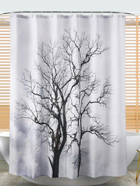 Tree Print Waterproof Bathroom Shower Curtain - MILK WHITE W71 X L71 INCH