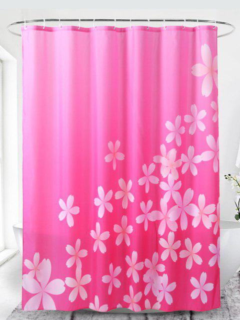 Flowers Pattern Waterproof Bathroom Shower Curtain - VIOLET RED W71 X L71 INCH