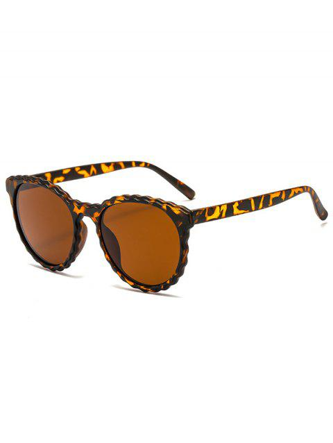 Small Round Rippled Edge Frame Sunglasses - LEOPARD