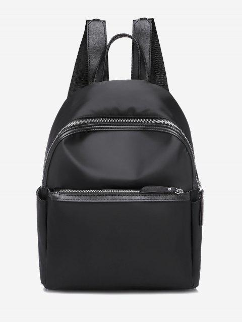 Casual Solid Zipper Nylon Backpack - BLACK