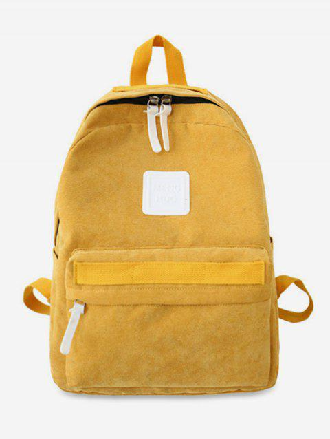 Solid Casual Corduroy Backpack - YELLOW