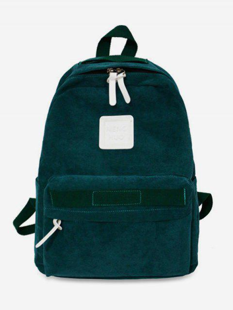 Solid Casual Corduroy Backpack - GREENISH BLUE