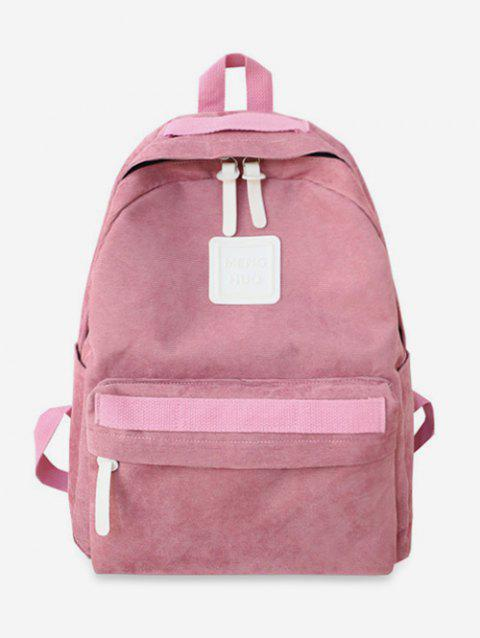 Solid Casual Corduroy Backpack - PINK