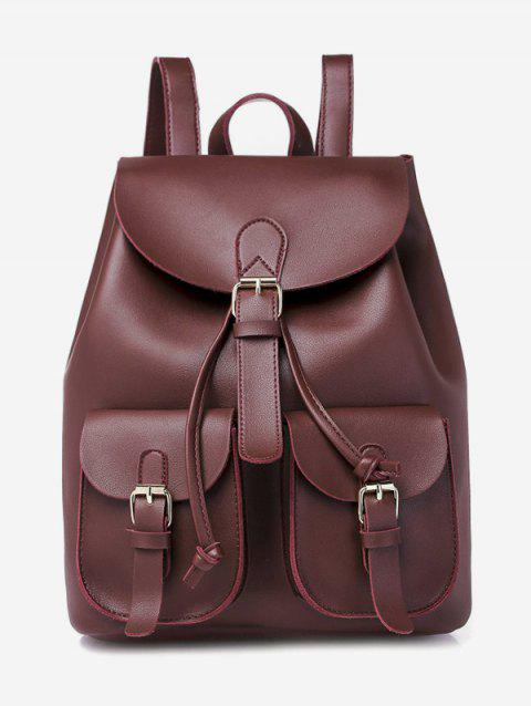 Solid Pockets Hasp College Style PU Backpack - RED WINE