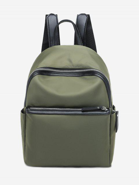 Casual Solid Zipper Nylon Backpack - DEEP GREEN