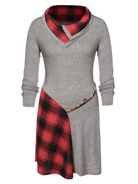 Plus Size Buttons Checked Knee Length Dress - GRAY 1X