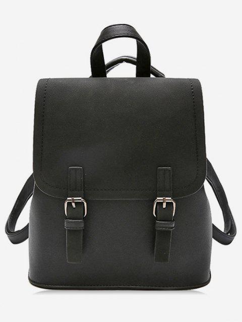 Color Block Double Hasp PU Backpack - BLACK