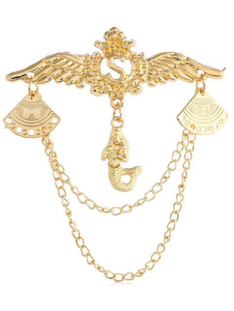 Metal Wings Shape Mermaid Drop Chain Brooch - GOLD