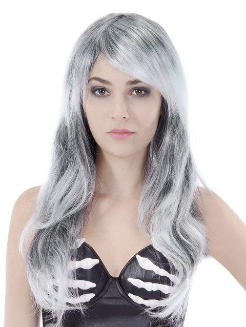 Long Side Bang Straight Colormix Cosplay Party Synthetic Wig - GRAY GOOSE