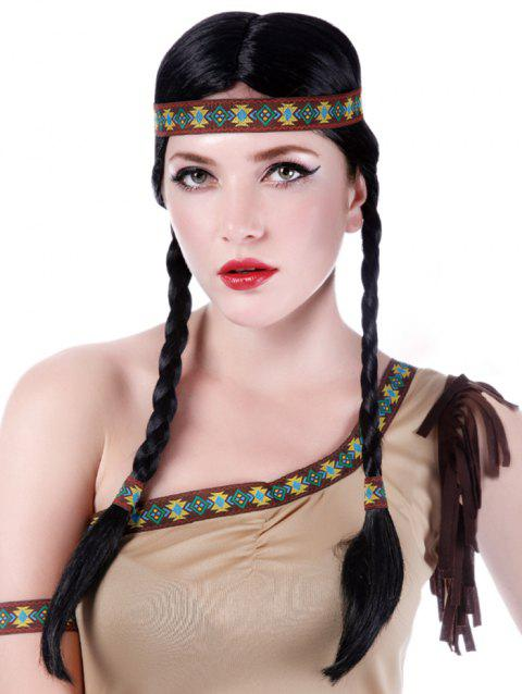 Long Center Parting Braids Synthetic Native American Hairstyle Wig - BLACK