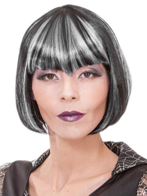 Full Bang Short Colormix Straight Bob Cosplay Synthetic Wig - multicolor A