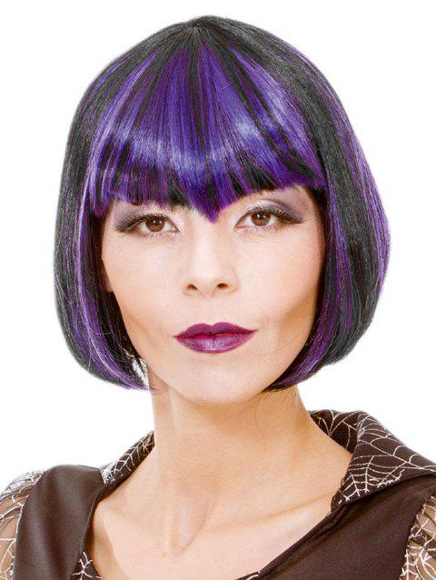 Full Bang Short Colormix Straight Bob Cosplay Synthetic Wig - multicolor C