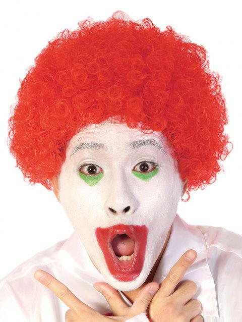 Short Full Bang Afro Curly Synthetic Clown Wig - LAVA RED