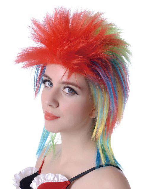 Short Side Bang Shaggy Colorful Straight Party Synthetic Wig - multicolor
