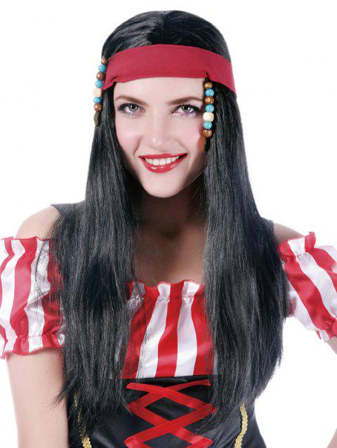 Long Center Parting Straight Synthetic Pirate Style Wig - BLACK
