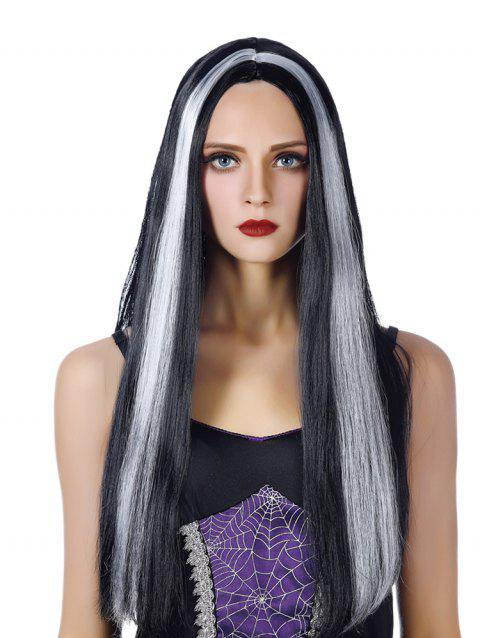 Middle Part Long Capless Straight Synthetic Wig - WARM WHITE