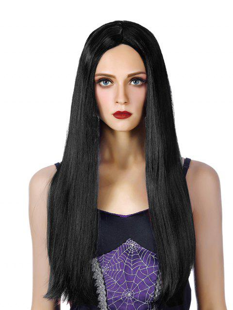 Middle Part Long Capless Straight Synthetic Wig - BLACK