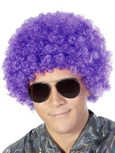 Short Full Bang Fluffy Afro Curly Party Synthetic Wig - PURPLE AMETHYST