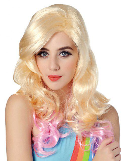 Long Inclined Bang Wavy Colormix Party Synthetic Wig - GOLD