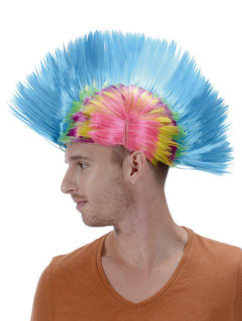 Short Colorful Native American Mohican Wig - multicolor