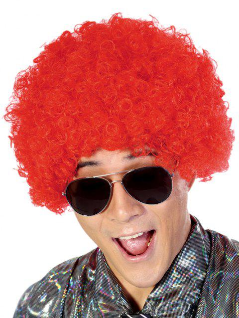 Short Full Bang Fluffy Afro Curly Party Synthetic Wig - LAVA RED