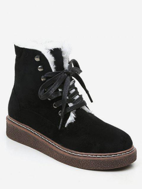Tie Up Flat Suede Boots - BLACK EU 38