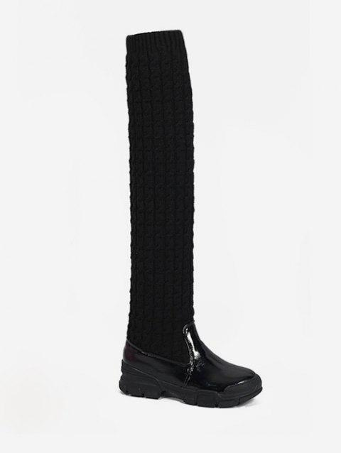 Patent Leather Patch Sock Thigh High Boots - BLACK EU 37