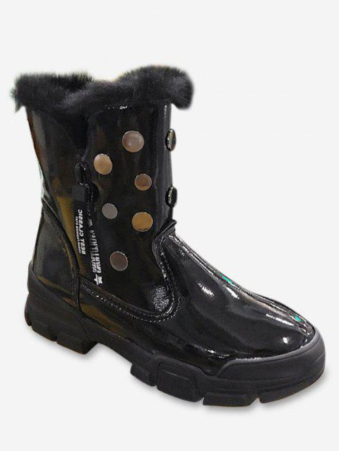 Patent Leather Studded Snow Mid Calf Boots - BLACK EU 37