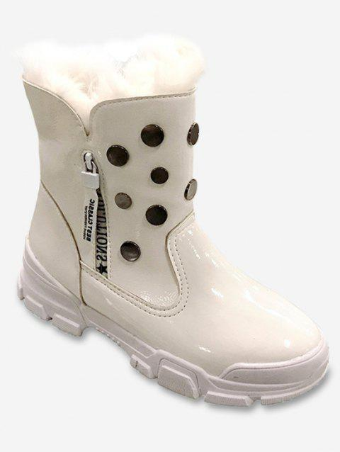 Patent Leather Studded Snow Mid Calf Boots - WHITE EU 39