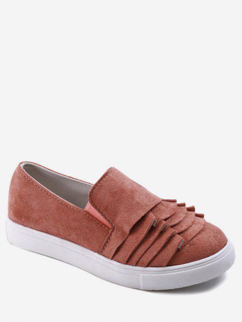 Ruffles Detail Canvas Slip On Flats - PINK EU 36