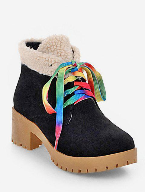 Plus Size Colorful Lace Fuzzy Decor Ankle Boots - BLACK EU 39
