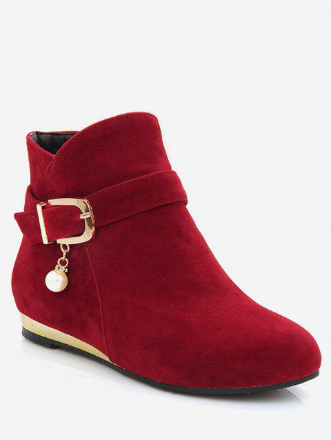 Plus Size Faux Pearl Buckle Detail Ankle Boots - RED WINE EU 40