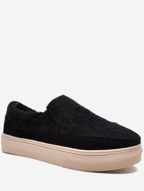 Fuzzy Slip On Flats - BLACK EU 35