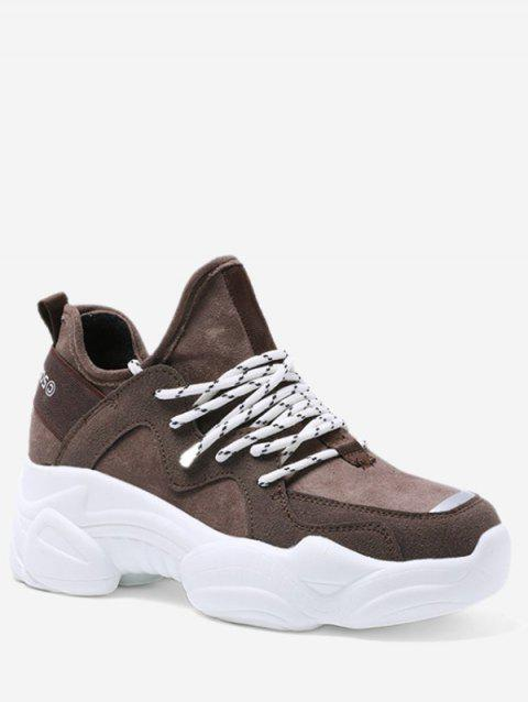 Suede Lace Up Platform Casual Sneakers - BROWN EU 37