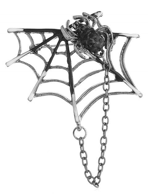 Hollow Out Spider Web Brooch - GUNMETAL