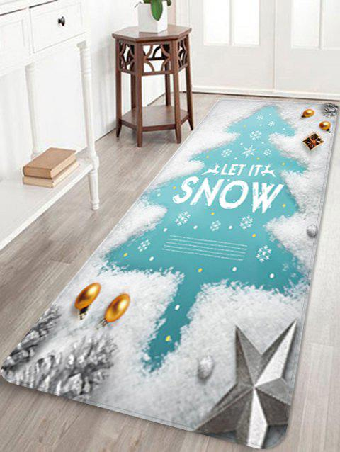 Christmas Snow Tree Printed Floor Mat - WHITE W16 X L47 INCH
