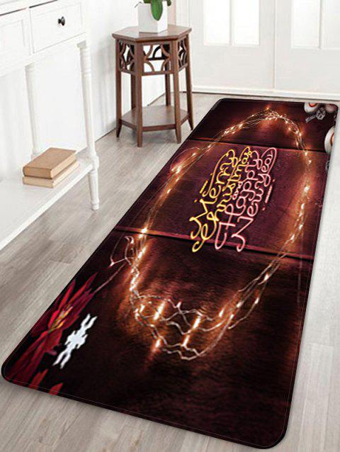 Merry Christmas Happy New Year Printed Floor Mat - DEEP BROWN W16 X L47 INCH