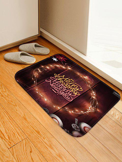 Merry Christmas Happy New Year Printed Floor Mat - DEEP BROWN W20 X L31.5 INCH