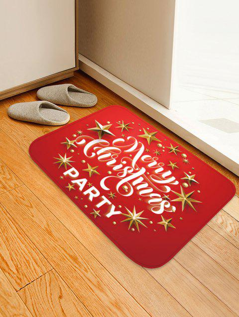Christmas Star Party Printed Floor Mat - LAVA RED W16 X L24 INCH