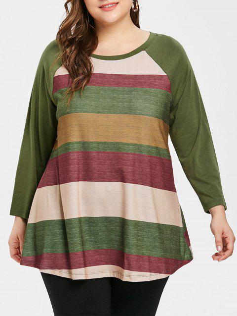 Raglan Sleeve Plus Size Color Block T-shirt - ARMY GREEN 2X
