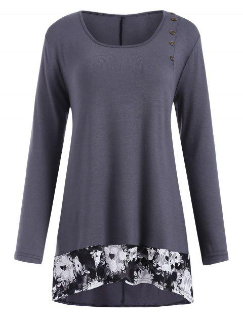 Plus Size Buttoned Lace Panel High Low T Shirt - BATTLESHIP GRAY 1X