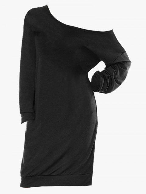 Plus Size Skew Neck Long Sleeve Shirt Dress - BLACK 2X