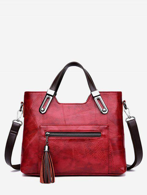 Tassel Zipper Tote Bag with Strap - RED