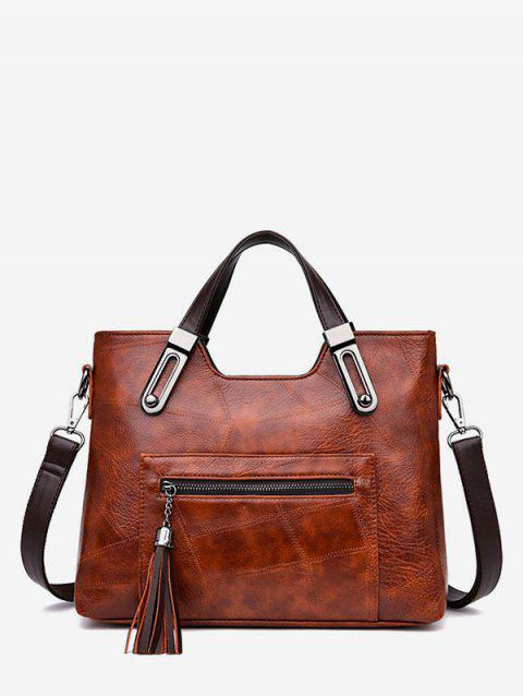 Tassel Zipper Tote Bag with Strap - BROWN